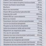 Kandungan vitamin dalam sebiji tablet VitaLea Shaklee