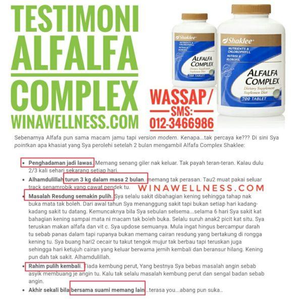Testimoni Alfalfa Complex Shaklee